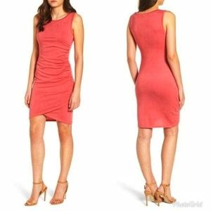 LEITH Riched Coral Dress Fitted Bodycon
